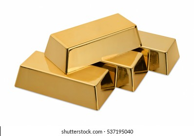 Gold bars isolated on white background. Financial concept.