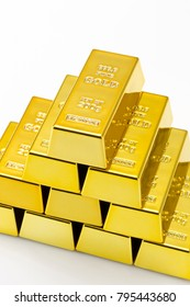 Gold Bars isolated on white.Financial concept.