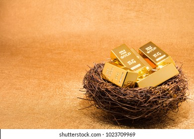 gold bars on nest concept of looking after your investment