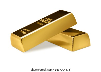 Gold bars on white background.  Financial concept.
