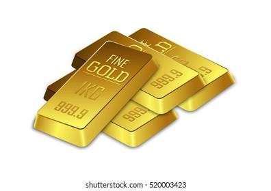 Gold bars on the white background