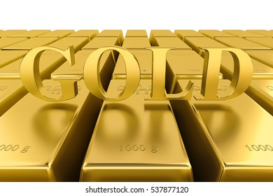 Gold bars pile isolated on white background. Financial success, business investment and wealth concept. 3D illustration