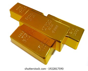 Gold bars placed on a white background.
