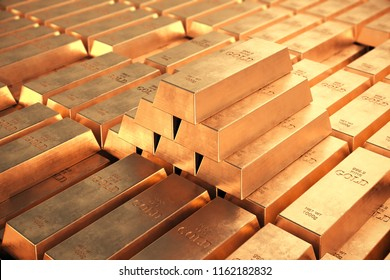 Gold bars pyramid. Concept of wealth.