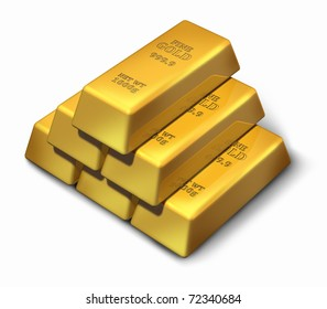 Gold bars in a pyramid formation representing wealth and savings.