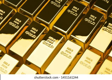 Gold bars in a row. Financial concepts.