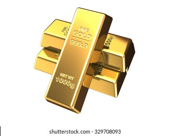 Gold bars in stack, isolated on a white background