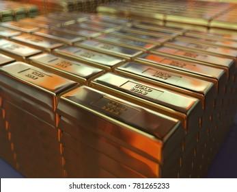 gold bars in the storehouse, 3d illustration
