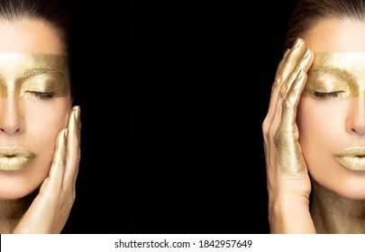 Concepto de tratamiento de skincare de spa basado en el oro con un retrato dividido de una mujer hermosa sobre el negro usando un ojo dorado y máscara labial sosteniendo con gracia la mano para mirar en un panorama con espacio central de copias