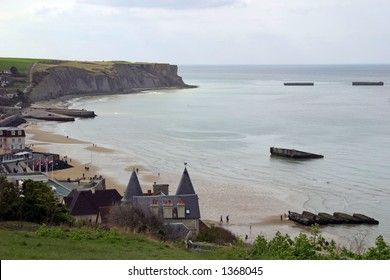 Gold Beach (Arromanches) - D-Day landing site and artificial harbor of allied forces.