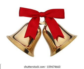 Gold Bells With Red Ribbon Bow Isolated on White Background.
