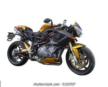 A Gold Benelli Motorbike