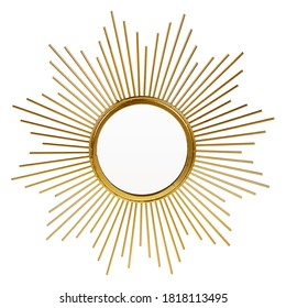 Gold Beveled Round Wall Mirror in a Sun-Ray Frame Isolated. Decorative Golden Sun Vintage Art Deco Mirror for Living Room & Bedrooms. Eye-Catching Wall Mounted Classic Circular Mirror. Interior Design - Shutterstock ID 1818113495