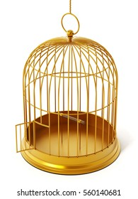 Gold bird cage isolated on white background. 3D illustration.