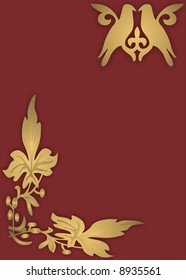 Gold birds on red background