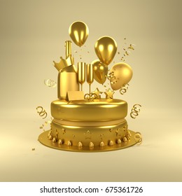 Gold Birthday Surprise. Birthday celebrations with gold balloons, gold glasses and champagne bottle and a cake. 3D illustration.