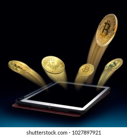 Gold Bit coin fling From tablet. concept Of profits.