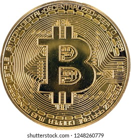 Gold bitcoin coin close up. Isolate Crypto currency