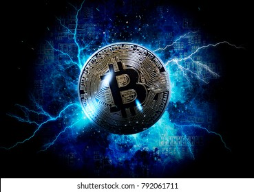Gold bitcoin coin. Bitcoin cryptocurrency