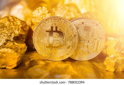 Gold bitcoin coin. heap of gold. bitcoin-crypto currency business concept. nuggets of gold.