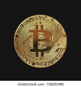 Gold bitcoin coin isolated on black background
