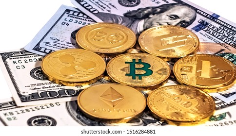 Gold bitcoin coin one hundred dollars bills. Blockchain technology Virtual digital currency. Crypto currency U.S. money exchange for trade isolated on white background soft focus