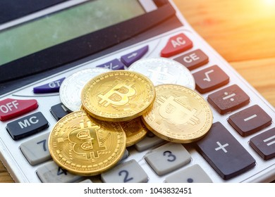 Gold bitcoin cryptocurrency and ethereum used to trade in the digital world in the virtual with blockchain technology that affects the global economy. concept digital money business investment.