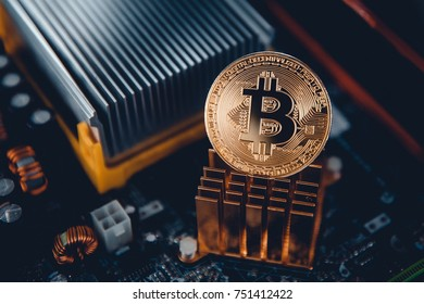 Gold Bitcoin electronic computer processor board