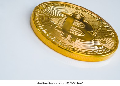 Gold bitcoin icon on dish digital money food business