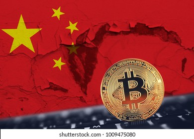 Gold Bitcoin on background of flag China. Concept prohibition, mining, crypto currency in Chinese People Republic