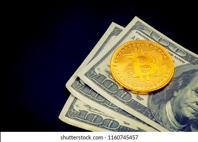 Gold bitcoin on us dollar with currency virtual digital, finance and money, business market concept.