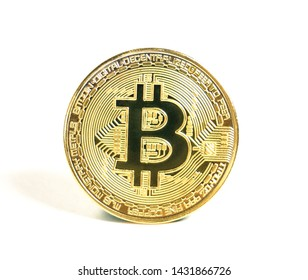 Gold Bitcoin on the white background. Financial growth concept. Bitcoins and New Virtual money concept.