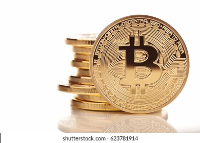 gold  bitcoin on white background
