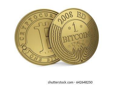 Gold bitcoin. Path included. 3D rendering