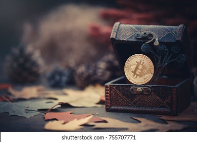 Gold bitcoin. Treasures - crypto currency mysterious autumn leaves. Old wooden box Virtual money on a dark background. warm toning.