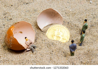 Gold bitcoins in a cracked eggshell and two men standing and one sitting on eggshell. Bitcoins and New Virtual money concept