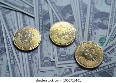 Gold Bitcoins and One dollars Wallpaper - 20 Jan 2018 Istanbul Turkey