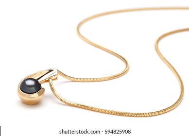 Gold Black Pearl Necklace Pendant