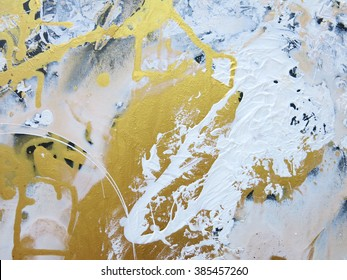 Gold and black and white marble acrylic pattern. Hand drawn oil painting. Abstract art background. Color texture.  Abstract gold painting.