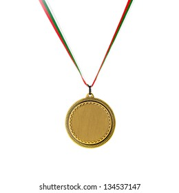 Gold blank medal isolated on white