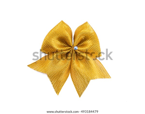 gold bow on white background