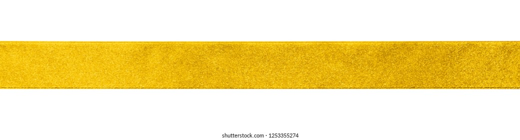 Gold bow ribbon band satin golden stripe fabric (isolated on white background with clipping path) for Christmas holiday gift box, greeting card banner, present wrap design decoration ornament