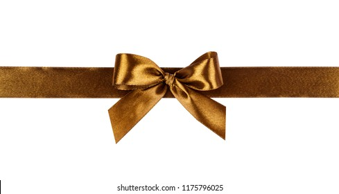 Gold bow, ribbon. Isolated on white background.