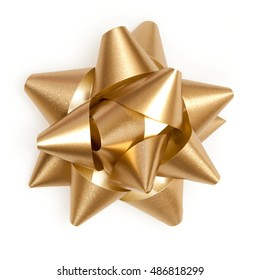 Gold bow sparkling holiday gift on a white background