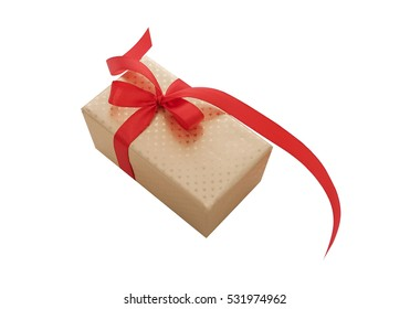 Gold box with red ribbon on a white background.