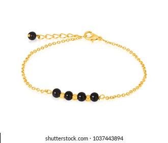 Gold bracelet with black Beads