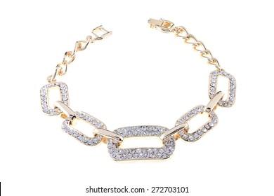 gold bracelet with diamonds on a white background