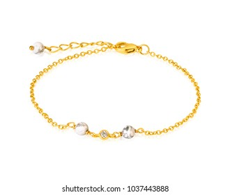 Gold bracelet with white Beads