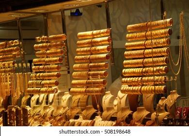 Gold bracelets and bangles  in goldsmith shops of the  Bazaar in  Bursa, Turkey