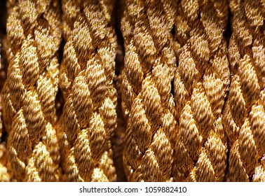 Gold braid rope photographed closeup